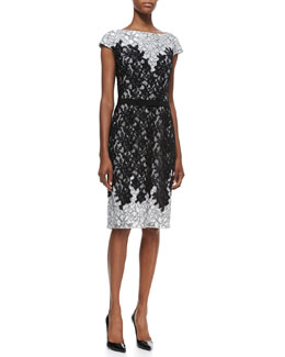 Tadashi Shoji Cap-Sleeve Contrast Top & Bottom Cocktail Dress, Black/Dove