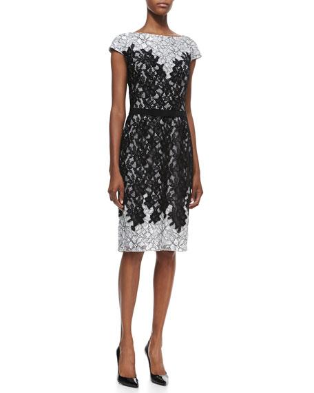 Cap-Sleeve Contrast Top & Bottom Cocktail Dress, Black/Dove