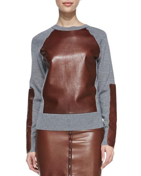 Long-Sleeve Leather-Block Sweatshirt
