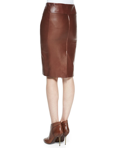 Zip-Front Leather Pencil Skirt