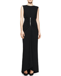 Reed Krakoff Sleeveless Ruched-Waist Gown