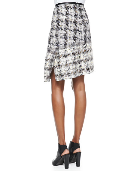 Grid Tweed Printed Asymmetric Skirt