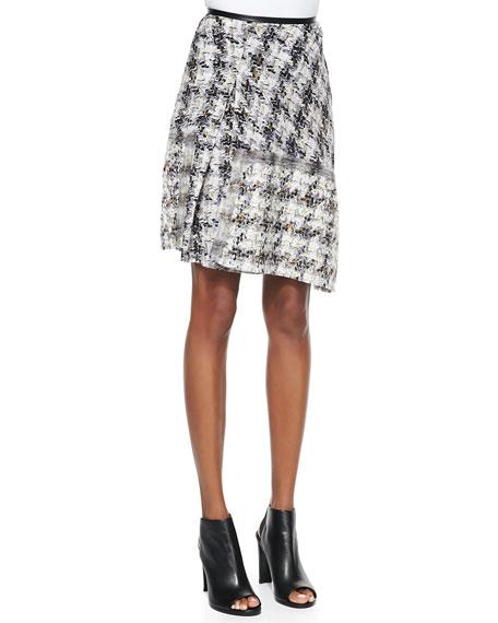 Grid Tweed Printed Asymmetric Skirt