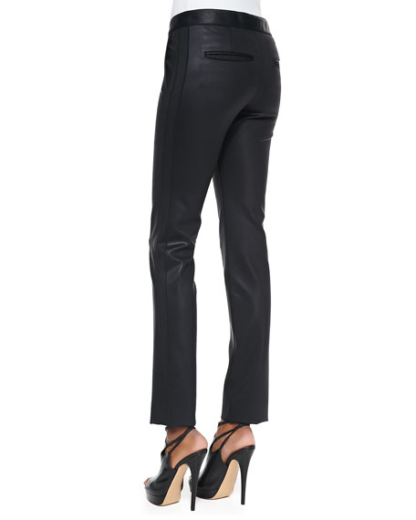 Coated Straight-Leg Stretch Pants