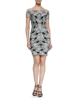 Nicole Miller Off-the-Shoulder Lace Cocktail Dress