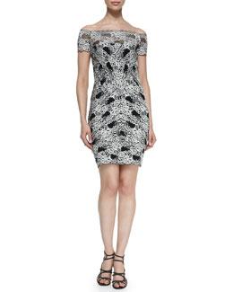 Nicole Miller Off-the-Shoulder Lace Cocktail Dress