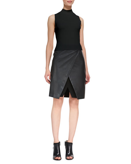 Derion Easeful Notched Leather Skirt