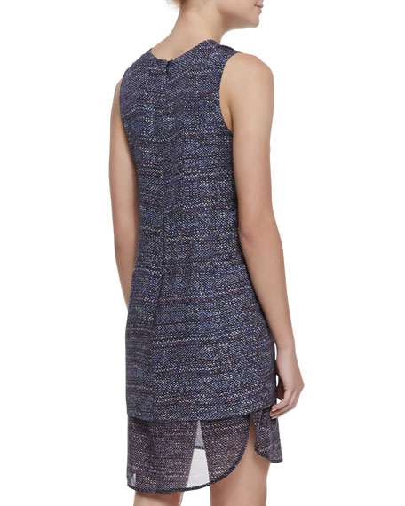 Hassil Tweed-Print Layered Silk Dress
