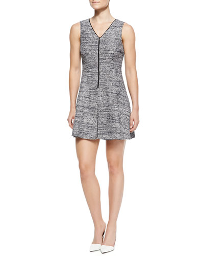 Theory Cushy Haddie Tweed Sleeveless Dress