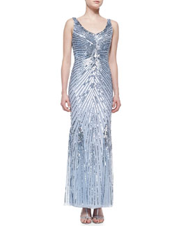 Aidan Mattox Beaded Gown with Sunburst Pattern, Light Blue