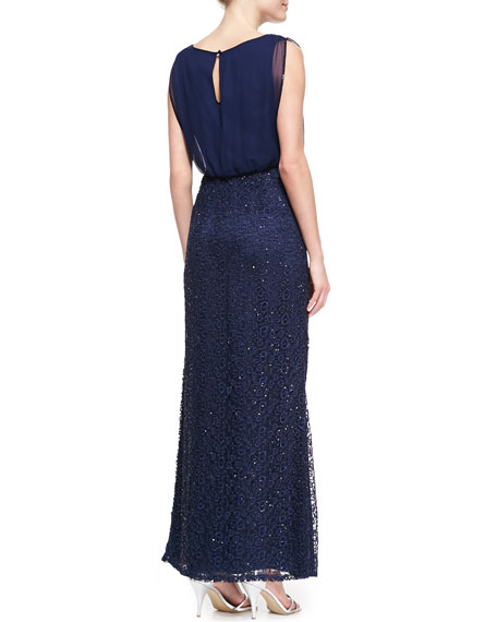 Sleeveless Sequin Blouson Gown, Twilight Blue