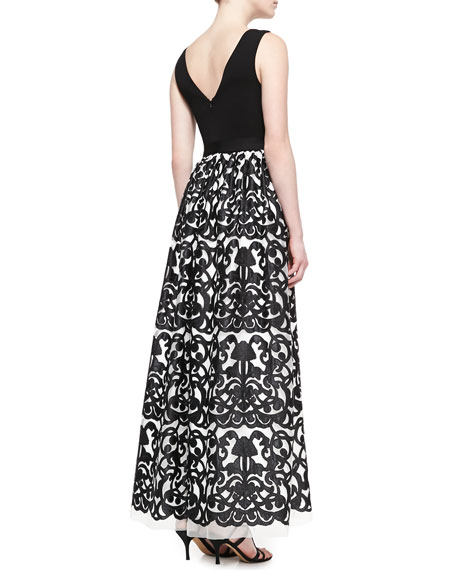 Aidan Mattox Sleeveless Floral-Skirt Gown