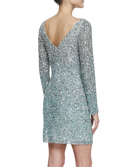 Long-Sleeve Sequined Cocktail Dress, Silver