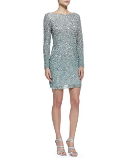 Aidan Mattox Long-Sleeve Sequined Cocktail Dress, Silver