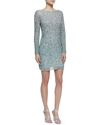 Aidan Mattox Long-Sleeve Sequined Cocktail Dress, Silver