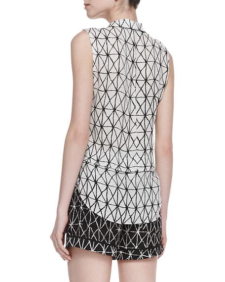 Ian Printed Sleeveless Silk Blouse