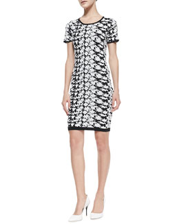Nicole Miller Artelier Short-Sleeve Floral-Print Dress