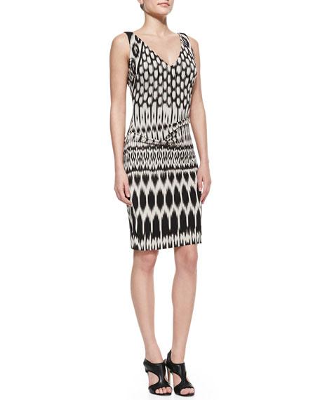 Nicole Miller Sleeveless Patterned Sheath Dress