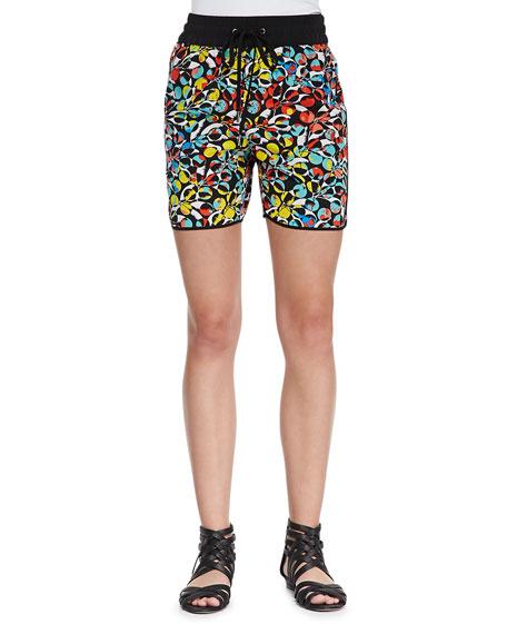 Jungle-Print Drawstring Silk Shorts