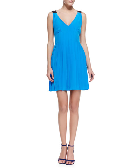 Frances Pleated Sleeveless Silk Dress
