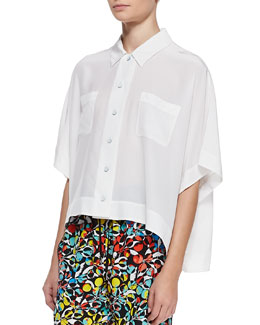 MARC by Marc Jacobs Frances Crepe de Chine Oversize Blouse
