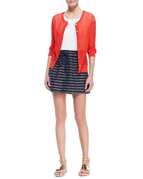 Dalea Pleated Silk Tweed Skirt