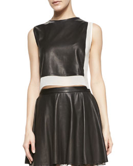 Alice + Olivia Sleeveless Combo Leather Crop-Top