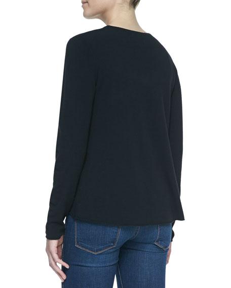 Intarsia Legs Design Crewneck Sweater