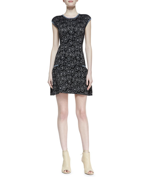 Cassidy Solid-Trim Jacquard Sweater-Knit Dress