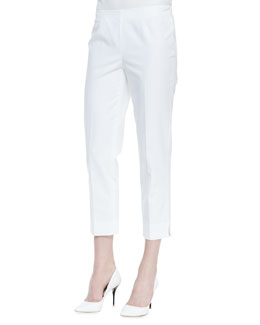 Lafayette 148 New York Metro Stretch Bleecker Cropped Pants, White