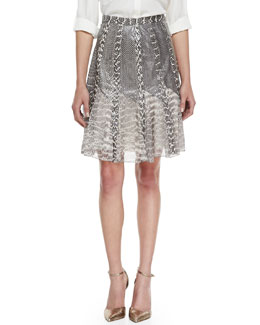 Jason Wu Snake-Print Silk Skirt