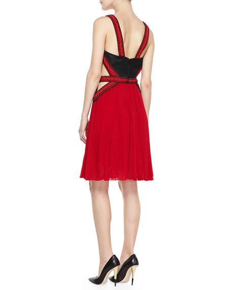 Beaded Halter Pleated Skirt Dress