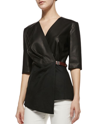 Leather Combo Wrap Blouse
