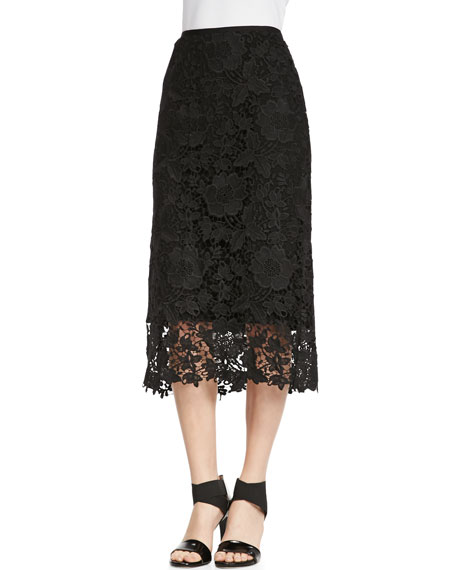 Maura Over-the-Knee Lace Skirt, Black