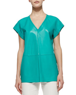 Lafayette 148 New York Lanai Lamb Leather Short-Sleeve Top