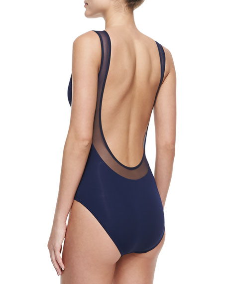 Illusion Off-the-Shoulder Maillot Swimsuit