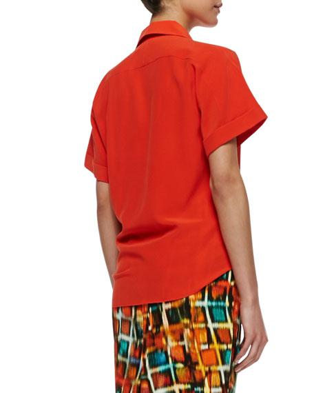 Elodie Short-Sleeve Silk Blouse