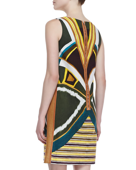 Drita Sleeveless Boho-Print Dress, Ficus/Multicolor