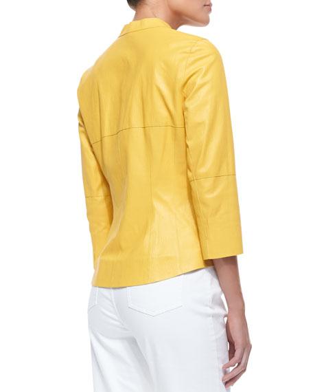 3/4-Sleeve Zip-Front Leather Shirt Jacket