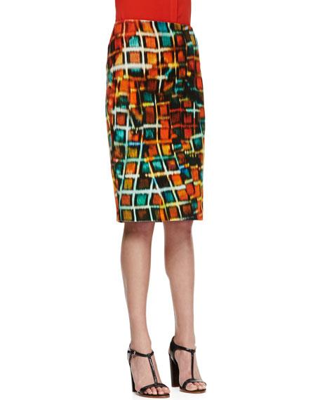 Modern Pencil Hologram-Print Skirt, Habanero Multicolor