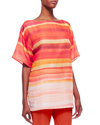 Jaelyn Ombre Striped Top, Begonia/Multicolor 634