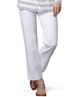 Joan Vass Slim Ponte Ankle Pants