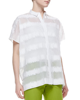 Lafayette 148 New York Salma Short-Sleeve Static Blouse, White