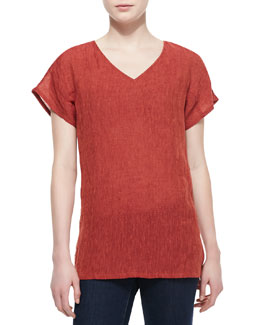 Lafayette 148 New York Ara Linen-Blend Short-Sleeve Top