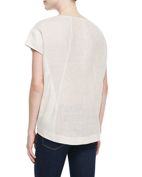 Evi Linen Short-Sleeve Top
