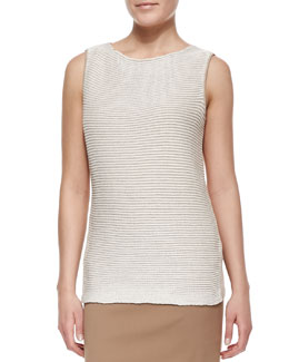 Lafayette 148 New York Two-Tone Stripe-Knit Bateau-Neck Shell