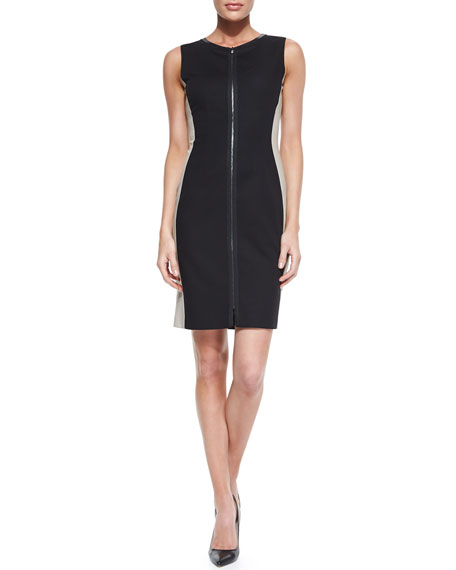 Avani Sleeveless Racing Stripe-Side Dress, Black/Taupe