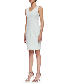 T Tahari Mallie Sleeveless Side-Zip Sheath Dress, Soft Sky