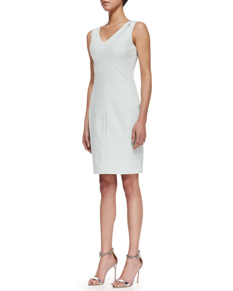 Mallie Sleeveless Side-Zip Sheath Dress, Soft Sky