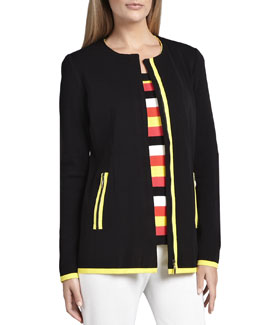 Misook Milano Piped Long Jacket, Women's